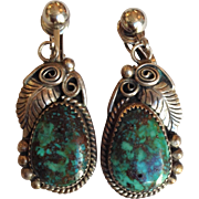 Navajo Turquoise Sterling Earrings Signed JC