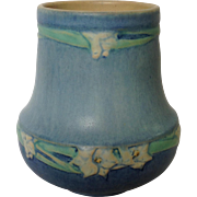 Newcomb College Pottery Vase Blue Floral