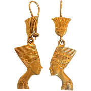 Egyptian Nefertiti Dangling Earrings 14 Karat Gold