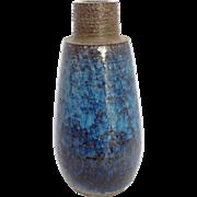 "Blue Bornholm Pottery Vase Denmark 9½"""