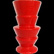 "Art Deco Orange Japanese Concentric Ring Vase 10"""