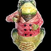 "Majolica Frog Figural Humidor 7½"""