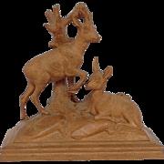 Black Forest Deer Carving Signed Rene Miller 1903