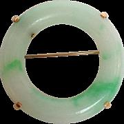 Jade Circle Pin 14 Karat Gold