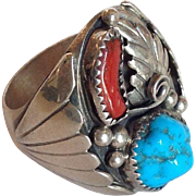 Native American Sterling, Turquoise and Coral Man's Ring