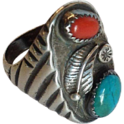 Turquoise Sterling Native American Ring Size 10.5