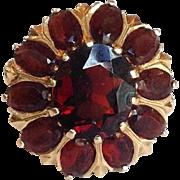 Garnet Flower Ring 14 Karat Gold