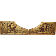 Pair of Chinese Gilt Wood Panels Antique