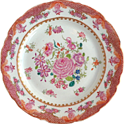 Group Eight Famille Rose Chinese Export Plates 18th c.