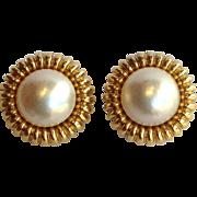 Mabe Pearl Earrings 14 Karat Gold