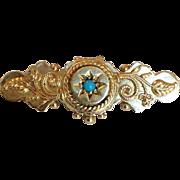 Turquoise Gold Watch Pin Victorian 14 Karat