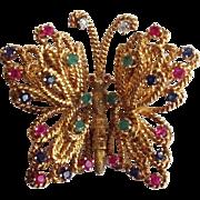 Butterfly Pin Precious Stones Diamond 14 Karat Gold