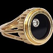 Diamond Onyx Rotating Disc Modernist Ring 14 Karat