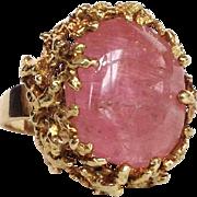 Rose Quartz Brutalist Ring 14 Karat Gold