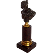 Bronze Male Bust on Marble Pedestal