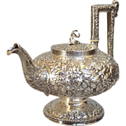 Kirk and Sons Repousee 11 Ounce Coin Silver Teapot 19th Century