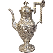 """Kirk and Sons Repousse Coin Silver Coffee Pot Tall 14"""""""