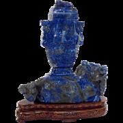 """Lapis Lazuli Urn on Foo Dog Carving with Wood Base 7 1/2"""""""