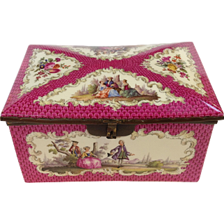 Dresden Courting Couples Box 19th Century Large 8 1/2""