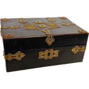 Enameled Brass Butterfly Wood Box England 19th Century