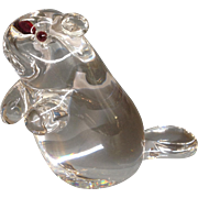Steuben Clear Glass Beaver Garnet Eyes 3 7/8""