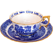 Antique Tiffany O'auld Lang Syne  Willow Teacup and Saucer