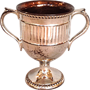 """Antique Silver Luster Double Handle Loving Cup 5"""""""
