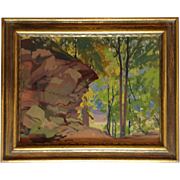 Forest Scene Oil by John Zwara Indiana Artist