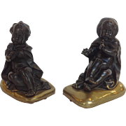 Bronze Bookends Children Playing with Blanket