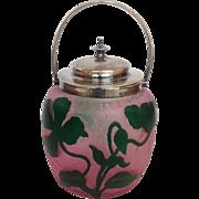 Daum Nancy Floral Cameo Glass Biscuit Barrel