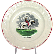 Horse ABC Plate Titled The Walk Staffordshire 7""