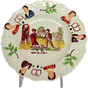 Child's Plate Miss In A Pet Staffordshire 19th c.