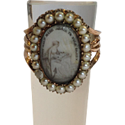 Mourning Ring Pearl  'Thou Wilt Rise Again in Full Glory' 10k