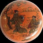 Geisha Scenic Round Lacquered Box