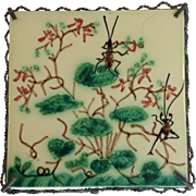 Majolica Tile Ants and Flowers Metal Mounts