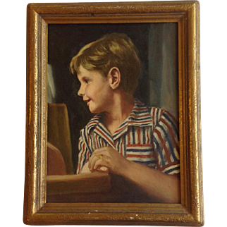 Original Oil Portrait of Boy Unsigned Circa 1925