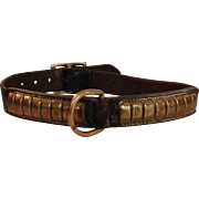 Leather and Brass Large Dog Collar