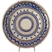 """Spanish Faience Charger 19th c 12"""""""
