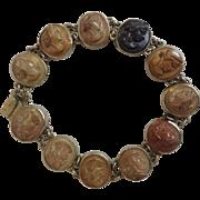 "Antique Silver Lava Cameo Bracelet Neoclassic Portaits 19"" c."