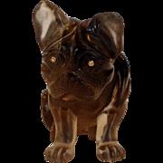 Bull Dog with Diamond Eyes Carved Citrine