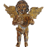 Carved Angel Gilt Wood Figural Antique