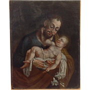 Religious Painting Saint Holding The Christ Child 19th c.
