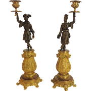 Pair of Chinoiserie Figure Candlesticks Gilt Bronze 19th Century