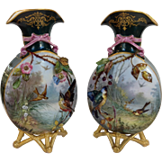 """Pair of French Limoges Hand Painted Bird Vases Antique 12"""""""