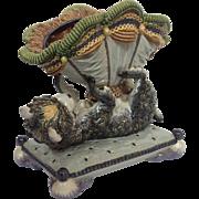 "Gerbing & Stephan Majolica Playful Dog 11"" Statue Circa 1885-1891"