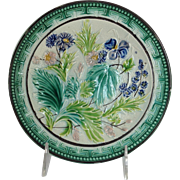 Antique Majolica Floral Plate 8""