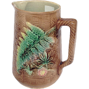 Fern Leaf Majolica Pitcher 6.5""