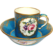 Cup and Saucer Handpainted Floral French 18th Century