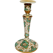 Limoges Porcelain Candlestick Green and Gold 1850's