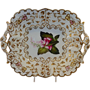 English Serving Dish with Flowers and  Gilt Double Handled 19th. c